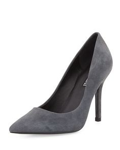 Suede Pointy-Toe Pump, Gray by Charles David at Neiman Marcus Last Call.