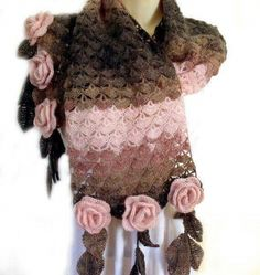 Lace crochet scarf Crochet flower scarf Prayer shawl Freeform crochet Flower leaf scarf Scarf with roses Leaf fringe scarf Blush pink scarf Shawl Crochet, Crochet Flower Scarf, Freeform Crochet, Crochet Chart, Crochet Scarves, Crochet Baby, Knit Crochet, Crochet Patterns, Roses Au Crochet