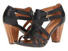 Black Leather stacked Heel