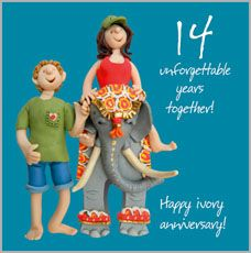 Click to view the 14th Ivory Wedding Anniversary Card ~ ESB163