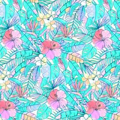 Tiny Pretty Pastel Hawaiian Hibiscus Print fabric by micklyn on Spoonflower - custom fabric