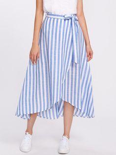 Shop Contrast Striped Self Tie Wrap Skirt online. - Shop Contrast Striped Self Tie Wrap Skirt online. SheIn offers Contrast Striped … – Source by toorsite - Cute Skirts, Cute Dresses, Casual Dresses, Casual Outfits, Fashion Dresses, Wrap Skirts, Linen Dresses, Belted Shirt Dress, Tee Dress