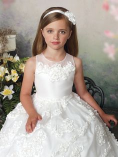 $61.33 Ball Gown Jewel Sleeveless Ankle Length White Special Occasion Girls Dress Joan Calabrese Communion Dresses Flower Girl Dresses-in Flower Gi...