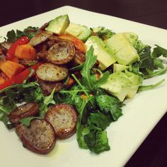 @catwon - Had a looooong day at work and not much to cook at home so I just sautéed a sugar-free sausage with red bells, sweet potato cubes & avo and put it all on top of baby kale & arugula. Drizzled truffle oil on top with a little sea salt. #soundsfancy but it's not.