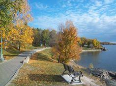 Bell Park boardwalk along Ramsey Lake in Greater Sudbury, Ontario, Canada - fall
