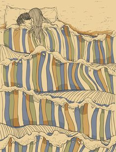 In bed at sea, nice illustration by Chalermphol Harnchakkham.