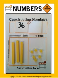 MATH : A Differentiated Kindergarten: Constructing Numbers . An Independent Place Value Freebie! Differentiated Kindergarten, Teaching Math, Teaching Ideas, Math Place Value, Place Values, Math Resources, Math Activities, Base Ten Activities, Math Enrichment