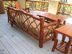 Rustic Patio Furniture Set from Appalachian Designs with upholstered seating. Perfect for our porch. & 16 Best Rustic Deck and Patio Furniture images | Rustic deck Rustic ...