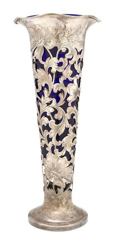 Art Nouveau Cobalt Glass Vase