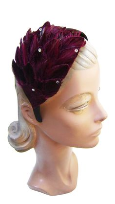 Trashy Diva Burgundy Velvet Feather and Rhinestone Headband | Trashy Diva