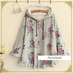 Gray  Buy 'Fairyland – Floral Frilled Hooded Cape' with Free International Shipping at YesStyle.com. Browse and shop for thousands of Asian fashion items from China and more!