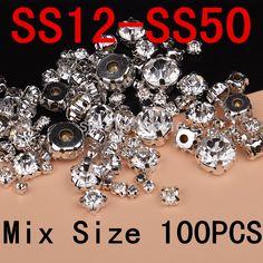 SS12-SS50 (3-10mm) mix size 100pcs/lot Silver Base Clear Crystal Sew On Rhinestones, Flatback Claw Rhinestones For DIY Garment | Price: US $2.99 | http://www.bestali.com/goto/32388464415/10
