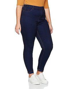 26 (Manufacturer Size:26/L32), Blue (Navy), New Look Curves Women's 5 Pocket Leg