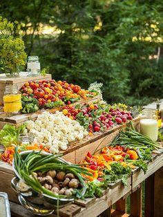 Wedding reception veggie bar