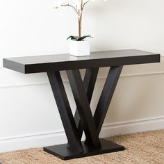 This contemporary sofa table by Abbyson Living features an elegant espresso finish and modern design. Its sturdy, solid wood construction will allow you to enjoy it for years to come. Furniture Deals, Cool Furniture, Living Room Furniture, Furniture Outlet, Online Furniture, Wood Sofa Table, Sofa End Tables, Contemporary Sofa, Modern Sofa