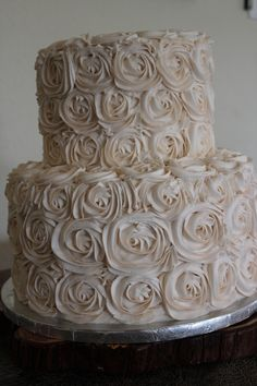 Buttercream, ivory rose wedding cake