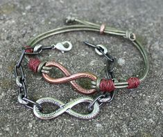 Simple Infinity Leather Bracelets by Ali in the Lima Beads design gallery. #TierraCast #Limabeads.com