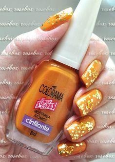 esmalte Colorama mostarda atomica + nail art