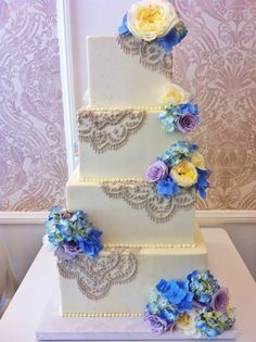 Square buttercream wedding cake with piped doily lace and light pink flowers Summer Wedding Cakes, Square Wedding Cakes, Light Pink Flowers, Fresh Flowers, Monster Cakes, Cupcake Cakes, Cupcakes, Buttercream Wedding Cake, Cake Decorations