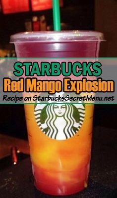 Try Starbucks Red Mango Explosion! A treat for your taste buds and yeyes! Refreshing Drinks, Summer Drinks, Fun Drinks, Beverages, Mixed Drinks, Alcoholic Drinks, Starbucks Hacks, Starbucks Secret Menu Drinks, Starbucks Smoothie