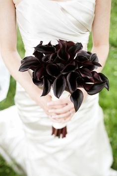 This bouquet of deep purple mini calla lilies contrasts beautifully against the backdrop of the white dress. Shop mini calla lilies in a variety of stunning colors year-round at GrowersBox.com!