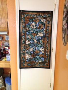 Stained glass quilt panel