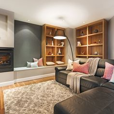 A perfectly cozy basement – I Decorate – Laundry Room Basement Workshop, Cozy Basement, Basement Walls, Basement Flooring, Basement Remodeling, Basement Bar Designs, Basement Ideas, Basement Furniture, Interior Design