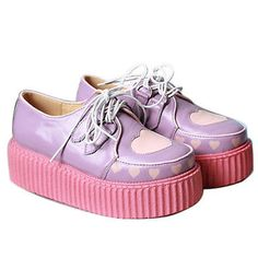 Real Leather Harajuku Cutie Kawaii Decora Pastel Heart Creeper Oxford Platform[40,Purple with Baby Pink]