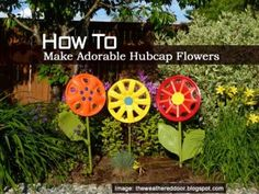How To Make Adorable Hubcap Flowers...We've shared many things to add to your garden to set your landscape apart and make is personal. From clay pot lighthouses, glow jars and sheds made from old windows. This is our first garden art from car parts I believe. These flowers are made from hubcaps. Click on the link below for details: