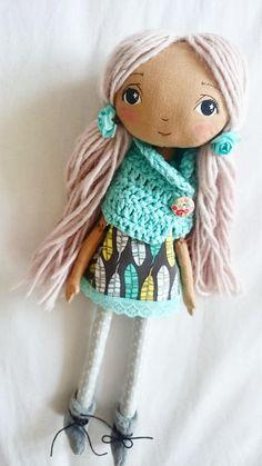 Handmade dollcloth doll pixie doll rag doll fabric doll