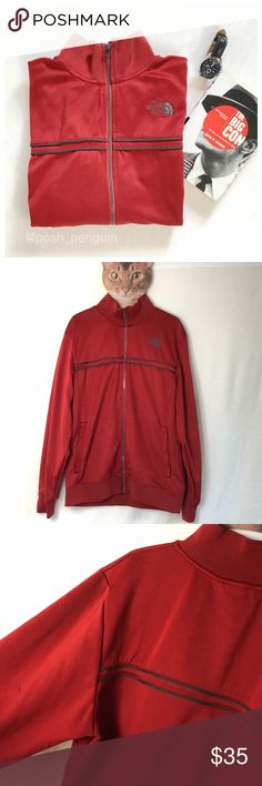 ⬇️$28 The North Face Full Zip Red Track Jacket L The North Face Full Zip Red Track Sportswear Jacket. Size large. Full zip with banded bottom and wrist. North Face logo on breast. Gray piping. Has small marks on the front but its hard to tell in most lighting. I had to lighten the photo to have them visible. The North Face Jackets & Coats Performance Jackets