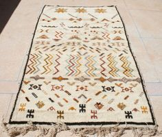 Berber teppich antik  Beige Brown Berber Area Rug 4x5, Small Beni Ourain Rug, Natural ...