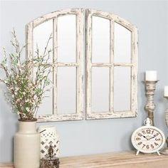 Aspire Home Accents Medium Arch Distressed Off-White Finish Hooks Pueblo Mirror (27 in. H x 15 in. W)