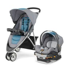 With a lightweight aluminum frame and a sleek, three-wheel design, the Viaro® Stroller has a sporty stance that offers nimble steering and maneuverability for everyday usability. Evoke the calming sensation of an ocean breeze with the Viaro® Travel System in Coastal. A tranquil grey hue coordinates with the stylish simplicity of a squared pattern woven in beautiful harbor blues.