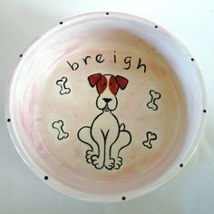 hand painted small personalized ceramic dog bowl. (shown jack russell terrier) $48.00, via Etsy.