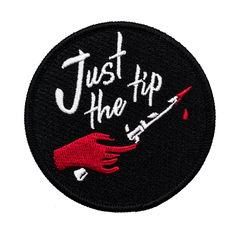 Just The Tip Patch. Switchblade knife dagger with blood iron on patch. Cool Patches, Pin And Patches, Jacket Patches, Funny Patches, Diy Patches, Switchblade Knife, Embroidery Patches, Embroidered Patch, Embroidery Ideas