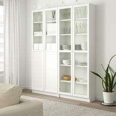 IKEA - BILLY / OXBERG, Bookcase with panel/glass doors, white, glass, Adjustable shelves can be arranged according to your needs. Billy Bookcase With Doors, Billy Bookcases, Ikea Billy Bookcase White, Billy Bookcase Hack, Billy Oxberg, Ikea Canada, Billy Regal, Ikea Closet, Ikea Storage