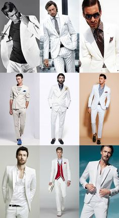 With the now horrifically out-dated examples of John Travolta in Saturday Night Fever and Al Pacino Mens White Suit, White Suits, Sharp Dressed Man, Well Dressed Men, Male Fashion Trends, Mens Fashion, Fashion Shoes, Costume Blanc, Mode Man