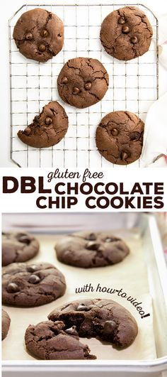 Rich and chocolatey, but never fudgy, gluten free chocolate chocolate chip cookies. Melted chocolate and cocoa powder make them perfect! Best Gluten Free Cookie Recipe, Gluten Free Chocolate Chip Cookies, Best Gluten Free Recipes, Gluten Free Baking, Gluten Free Desserts, Dessert Recipes, Gf Recipes, Delicious Recipes, Chocolate Chocolate