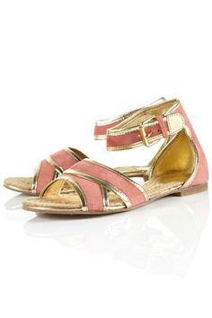 HERBIE Gold Trim Suede Sandals Design works No.1768 |Gold Heels|