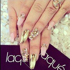 Gold pink nude combo rhinestone foil nail coffin #laque #laquenailbar #getlaqued by laquenailbar http://ift.tt/1iwmSge