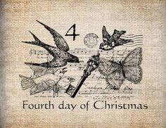 Antique Twelve Days of Christmas Fourth Calling Birds Postmarks Key Music Digital Download for Transfer, Pillows, etc Burlap No. 3393
