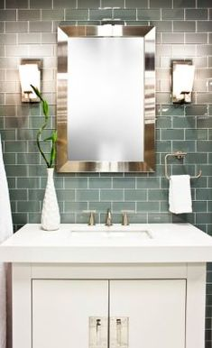 Shop for Water Glass Subway Tile - 3 x 6 in. at The Tile Shop. Glass Tile Bathroom, Bathroom Renos, Small Bathroom, Master Bathroom, White Subway Tiles, Glass Subway Tile, Glass Tiles, Kitchen And Bath Remodeling, Basement Remodeling