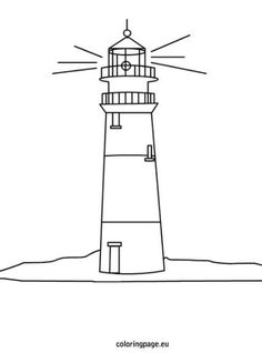 Lighthouse Coloring Page, Detailed, Clean Lines