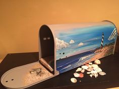 Beach Mailbox Hand Painted Lighthouse design by by OlenkasArt
