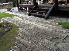 in-ground deck—embedded railroad ties Patio Edging, Driveway Edging, Backyard Walkway, Railway Ties Landscaping, Outdoor Landscaping, Landscaping Retaining Walls, Outdoor Decor, Outdoor Projects, Outdoor Spaces