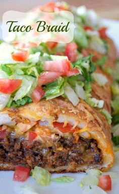 Taco Braid - made with pizza dough seasoned ground beef, tomatoes, and cheese is a fun and easy way to eat a taco. Great for Game Day, potlucks or your Taco Tuesday dinner! Mexican Dishes, Mexican Food Recipes, Dinner Recipes, Dessert Recipes, Beef Dishes, Food Dishes, Main Dishes, Taco Braid, Pizza Braid