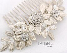 Leafy wedding hair comb, silver leaf bridal comb, Swarovski crystal comb, vintage bride, leaves: Laurel comb