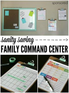 Sanity Saving Family Command Center. FREE school calendar, weekly menu planner, plus clever ways to keep the family organized. #MakeAmazing