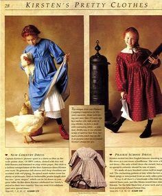I wanted the blue dress SO badly, when I was in third grade, poring over the catalogs. Instead, my mom made me a green calico prairie dress for my school's 'Oklahoma Landrun' day. It didn't look as nice. But I did get a matching bonnet.
